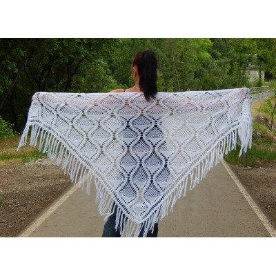 White Crochet Shawl Wraps Bridal Shawl Fringe Triangle Wedding Shawl Black Hand Knitted Wraps Shawl Lace Pink Scarf Flower Big Crochet Shawl