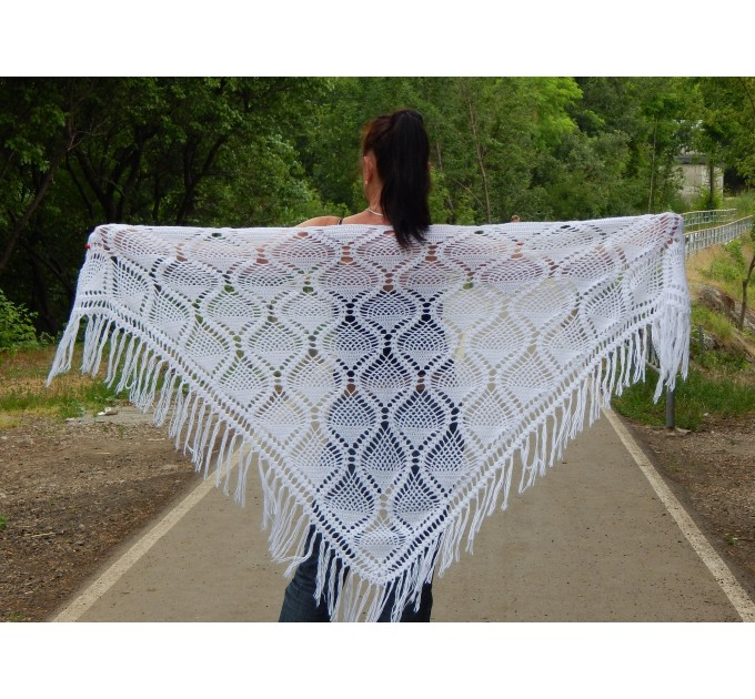 White Crochet Shawl Wraps Bridal Shawl Fringe Triangle Wedding Shawl Black Hand Knitted Wraps Shawl Lace Pink Scarf Flower Big Crochet Shawl  Shawl / Wraps