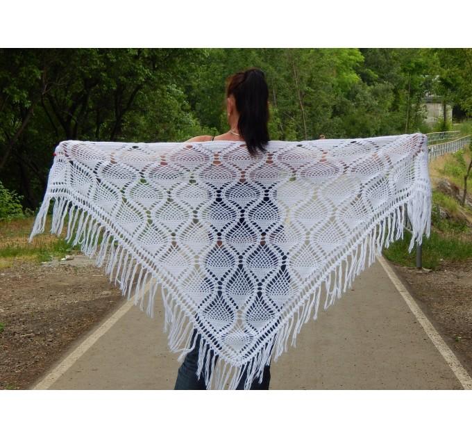 White Crochet Shawl Wraps Bridal Shawl Fringe Triangle Wedding Shawl Black Hand Knitted Wraps Shawl Lace Pink Scarf Flower Big Crochet Shawl  Shawl / Wraps  1