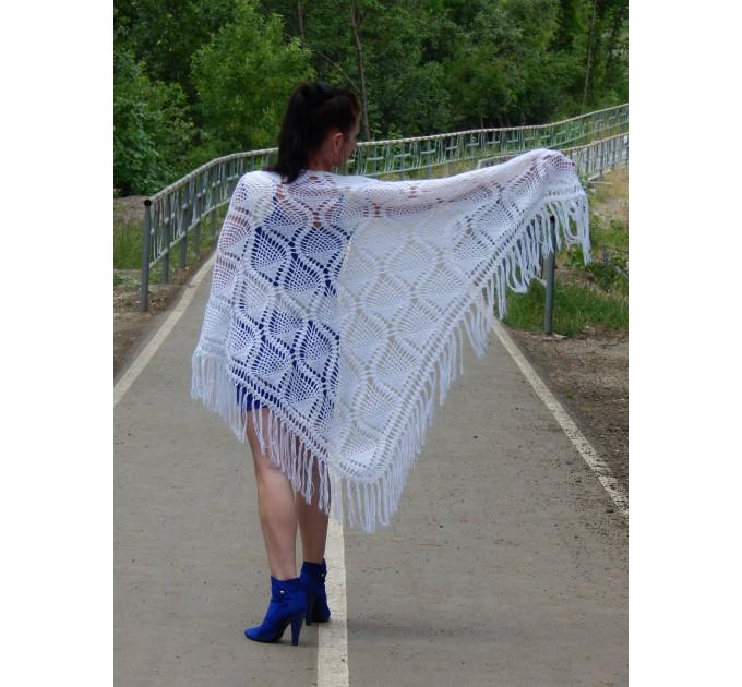 White Crochet Shawl Wraps Bridal Shawl Fringe Triangle Wedding Shawl Black Hand Knitted Wraps Shawl Lace Pink Scarf Flower Big Crochet Shawl  Shawl / Wraps  2