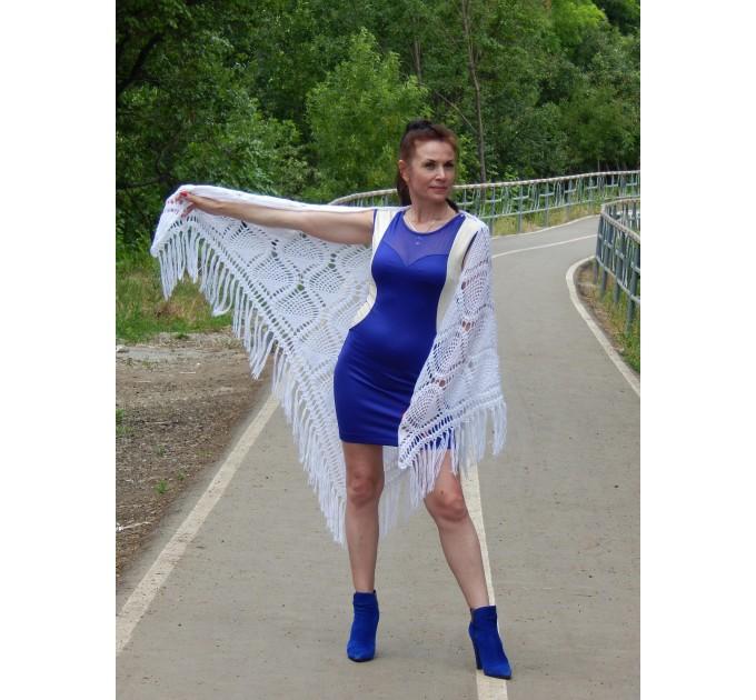 White Crochet Shawl Wraps Bridal Shawl Fringe Triangle Wedding Shawl Black Hand Knitted Wraps Shawl Lace Pink Scarf Flower Big Crochet Shawl  Shawl / Wraps  3