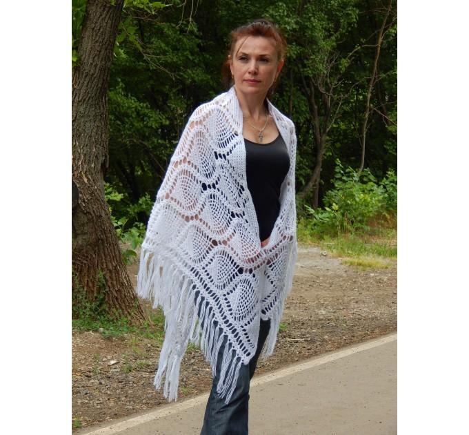 White Crochet Shawl Wraps Bridal Shawl Fringe Triangle Wedding Shawl Black Hand Knitted Wraps Shawl Lace Pink Scarf Flower Big Crochet Shawl  Shawl / Wraps  4