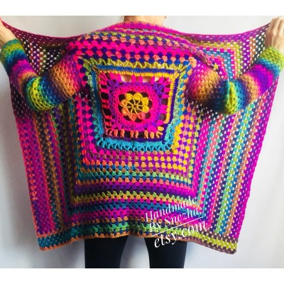RAINBOW CARDIGAN Sweater Hand Knit Sweater Women Oversized Hippie Vegan Plus Size Vest Clothing