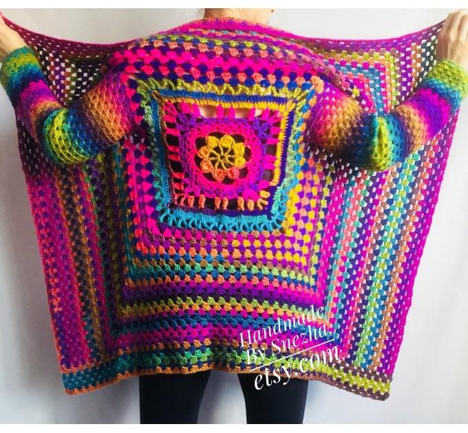 RAINBOW CARDIGAN Sweater Hand Knit Sweater Women Oversized Hippie Vegan Plus Size Vest Clothing  Cardigan