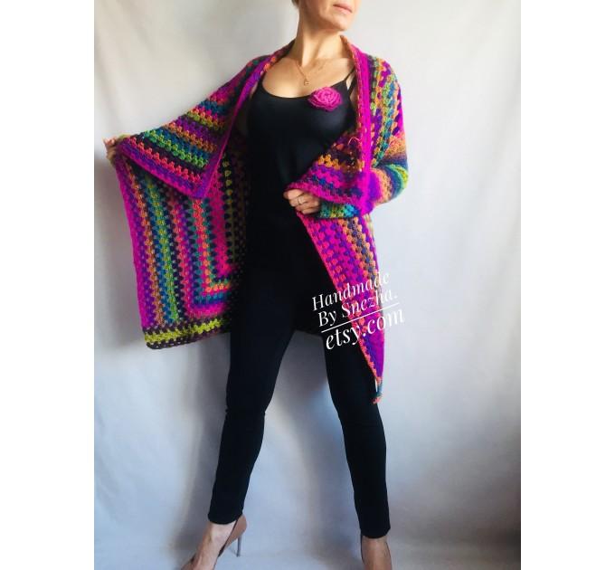 RAINBOW CARDIGAN Sweater Hand Knit Sweater Women Oversized Hippie Vegan Plus Size Vest Clothing  Cardigan  3