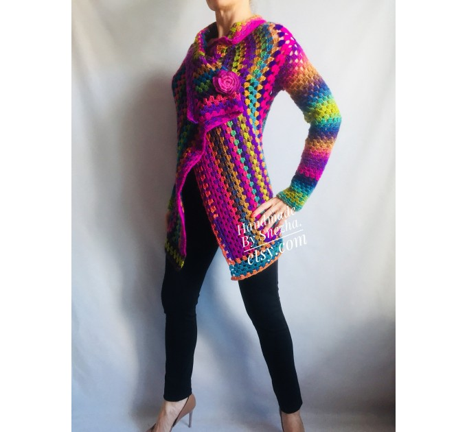 RAINBOW CARDIGAN Sweater Hand Knit Sweater Women Oversized Hippie Vegan Plus Size Vest Clothing  Cardigan  4