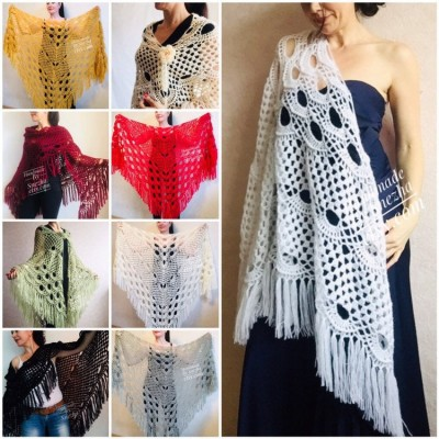 Wedding Shawl Wrap Fringe Big size Triangle Crochet Shawl Bridal Ivory bridesmaid Mohair Shawl Dark Red Bordo Girlfriend-Gift-for-her-mom