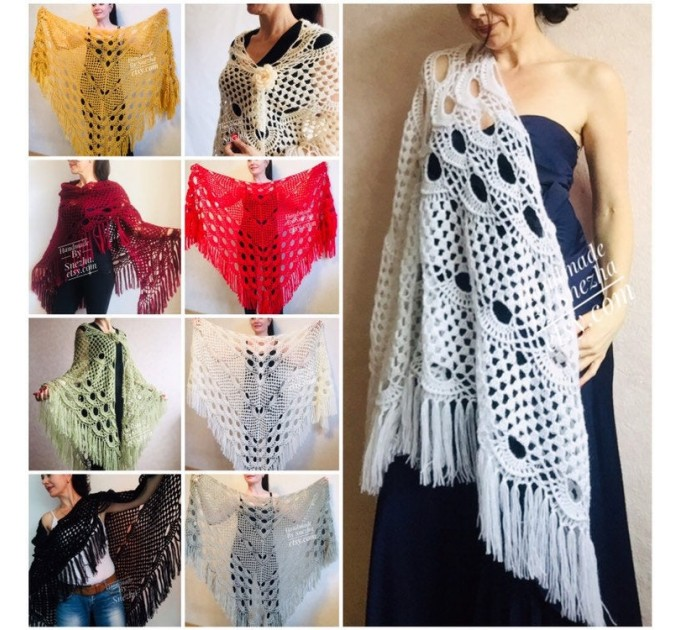 Wedding Shawl Wrap Fringe Big size Triangle Crochet Shawl Bridal Ivory bridesmaid Mohair Shawl Dark Red Bordo Girlfriend-Gift-for-her-mom  Shawl / Wraps