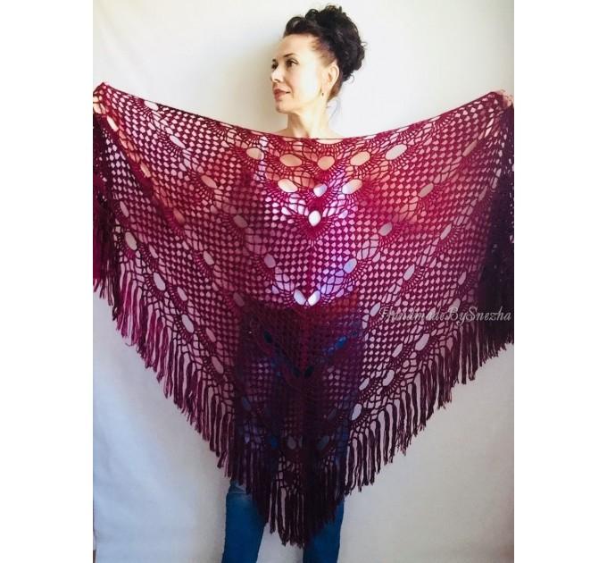 Wedding Shawl Wrap Fringe Big size Triangle Crochet Shawl Bridal Ivory bridesmaid Mohair Shawl Dark Red Bordo Girlfriend-Gift-for-her-mom  Shawl / Wraps  7