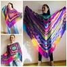 Rainbow Crochet Shawl Fringe Poncho Women Plus Size Hand Knitted Vegan Triangular Multicolor outlander Shawl Wraps Lace Warm Boho Evening