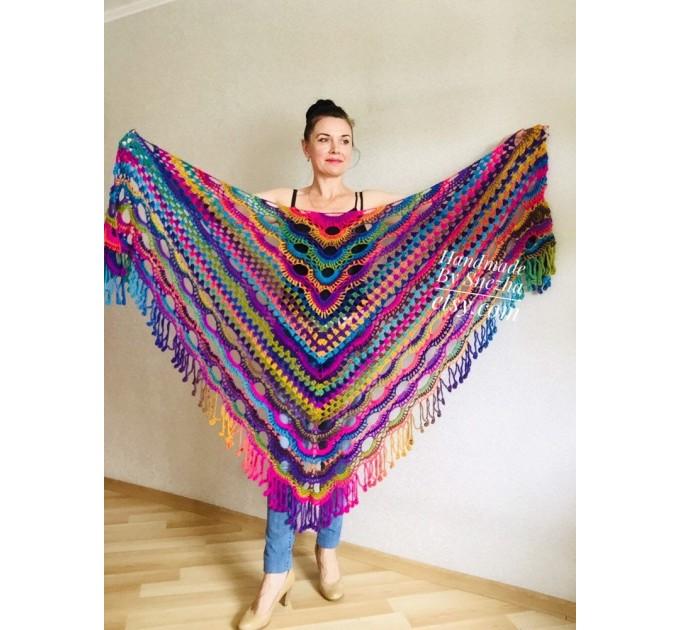 Rainbow Crochet Shawl Fringe Poncho Women Plus Size Hand Knitted Vegan Triangular Multicolor outlander Shawl Wraps Lace Warm Boho Evening  Shawl / Wraps  2