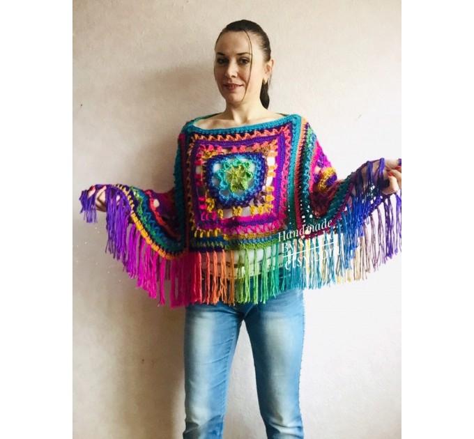 Rainbow Crochet Shawl Fringe Poncho Women Plus Size Hand Knitted Vegan Triangular Multicolor outlander Shawl Wraps Lace Warm Boho Evening  Shawl / Wraps  8