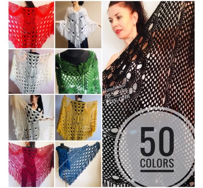 Black Crochet Shawl Wraps Wedding Triangle Fringe Big Size bridesmaid shawl mom birthday Gift For Her best friend Hand knit Mohair shawl  Shawl / Wraps  1