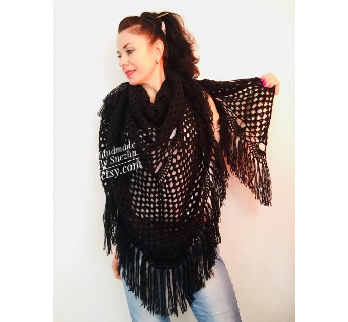 Black Crochet Shawl Wraps Wedding Triangle Fringe Big Size bridesmaid shawl mom birthday Gift For Her best friend Hand knit Mohair shawl  Shawl / Wraps  2