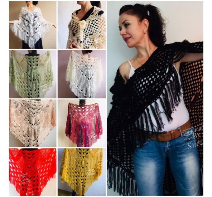 Black Crochet Shawl Wraps Wedding Triangle Fringe Big Size bridesmaid shawl mom birthday Gift For Her best friend Hand knit Mohair shawl  Shawl / Wraps  5