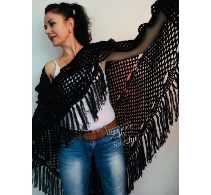 Black Crochet Shawl Wraps Wedding Triangle Fringe Big Size bridesmaid shawl mom birthday Gift For Her best friend Hand knit Mohair shawl  Shawl / Wraps  7