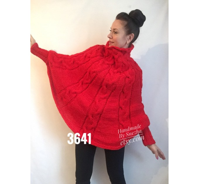 Hand Knit Loose Oversize Sweater Plus Size Clothing Poncho White Loose Wool Winter Cable Sweater Woman Crochet Convertible Cardigan Poncho  Poncho  6