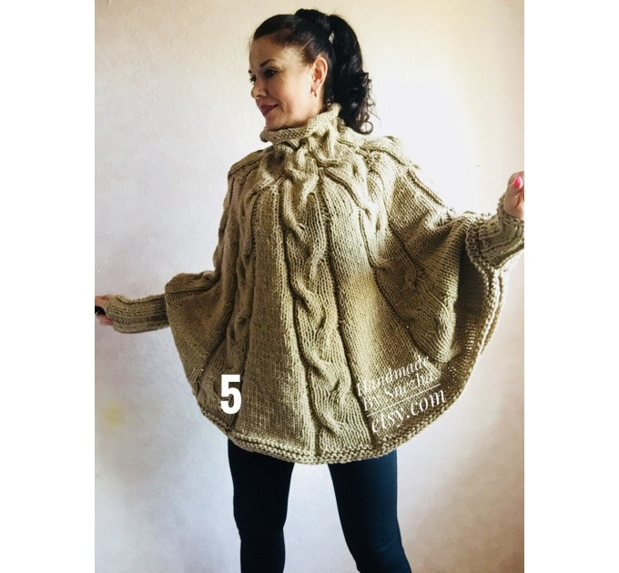 Hand Knit Loose Oversize Sweater Plus Size Clothing Poncho White Loose Wool Winter Cable Sweater Woman Crochet Convertible Cardigan Poncho  Poncho  8