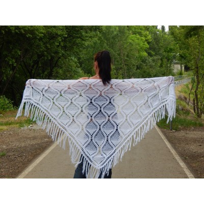 White Shawl Wraps Crochet Shawl Wraps Bridal Wrap Wedding Fringe Shawl Lace Hand Knit Shawl Christmas gift idea Crochet Flower Wool Scarf
