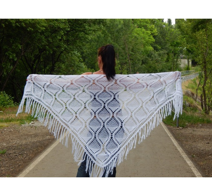 White Shawl Wraps Crochet Shawl Wraps Bridal Wrap Wedding Fringe Shawl Lace Hand Knit Shawl Christmas gift idea Crochet Flower Wool Scarf  Shawl / Wraps