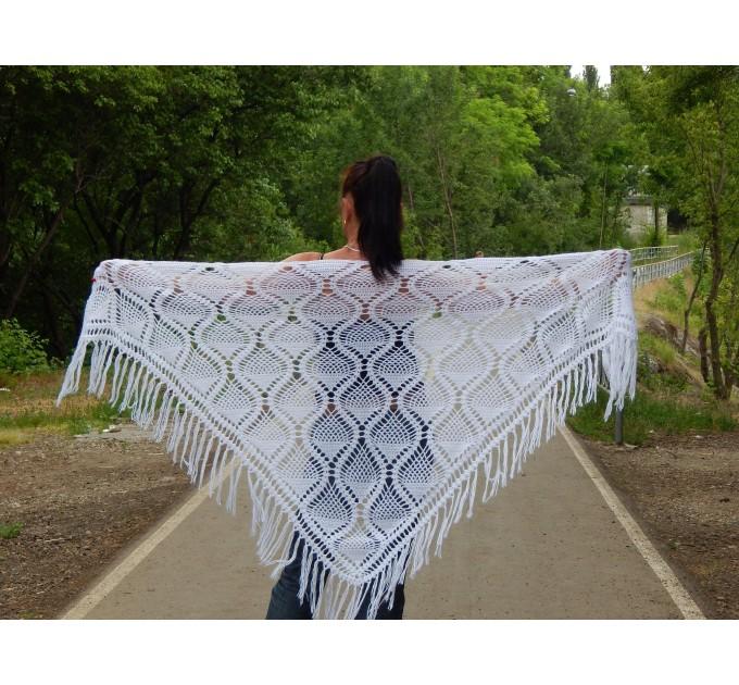 White Shawl Wraps Crochet Shawl Wraps Bridal Wrap Wedding Fringe Shawl Lace Hand Knit Shawl Christmas gift idea Crochet Flower Wool Scarf  Shawl / Wraps  1