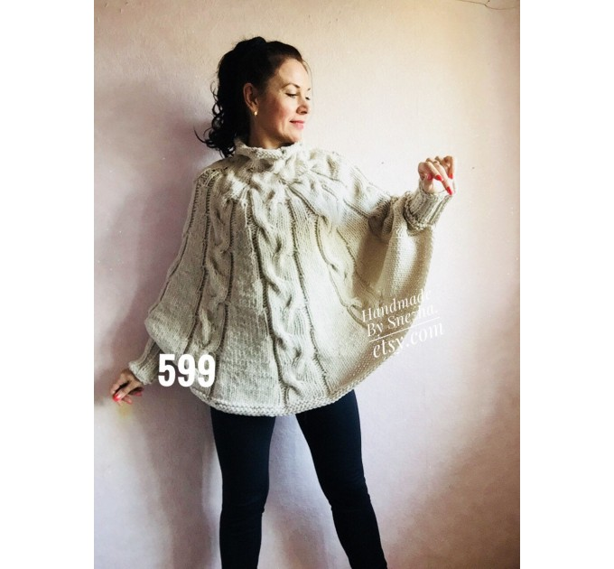 Wool Poncho Women Winter Sweater Hand Knit Poncho Loose Plus Size Knitwear Boho Crochet Wrap Knit Cable Chunky Poncho White Gray Black Red