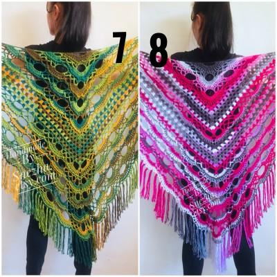 Green Crochet Shawl Wrap Triangle With Fringe Boho Colorful Shawl Rainbow Shawl Bohemian Multicolor Shawl Big Crochet Lace Knitted Shawl