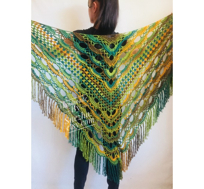Green Crochet Shawl Wrap Triangle With Fringe Boho Colorful Shawl Rainbow Shawl Bohemian Multicolor Shawl Big Crochet Lace Knitted Shawl  Shawl / Wraps  3