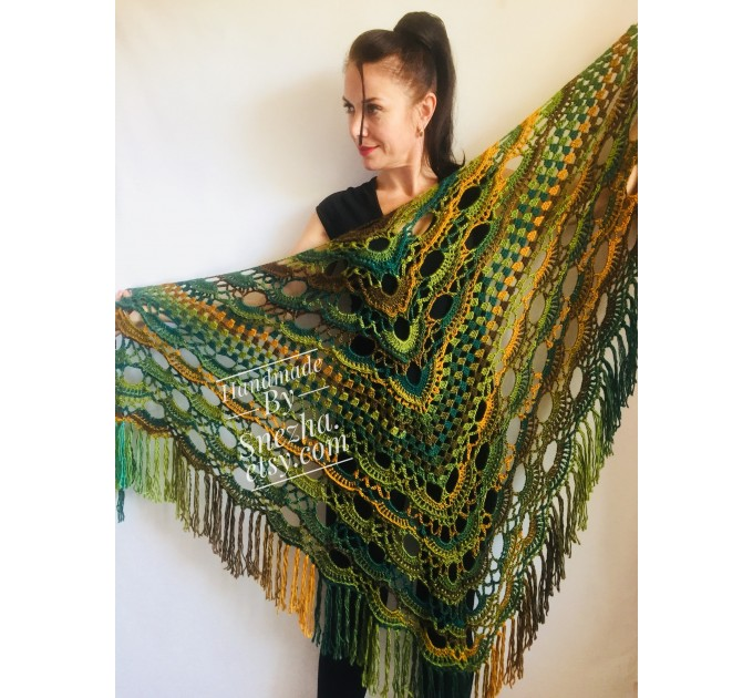 Green Crochet Shawl Wrap Triangle With Fringe Boho Colorful Shawl Rainbow Shawl Bohemian Multicolor Shawl Big Crochet Lace Knitted Shawl  Shawl / Wraps  5