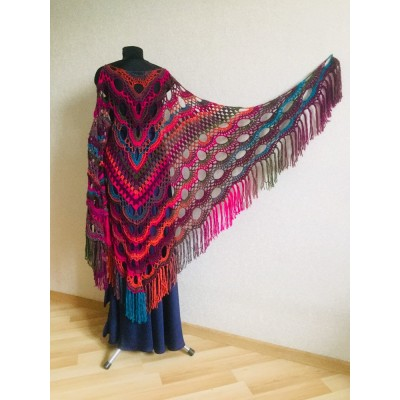 Crochet Multicolor Shawl Wrap Lace Triangle Boho Shawl Colorful Rainbow Shawl Fringe Big Crochet Shawl Hand Knitted Shawl Evening Shawl