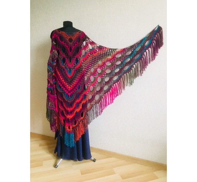 Crochet Multicolor Shawl Wrap Lace Triangle Boho Shawl Colorful Rainbow Shawl Fringe Big Crochet Shawl Hand Knitted Shawl Evening Shawl  Shawl / Wraps