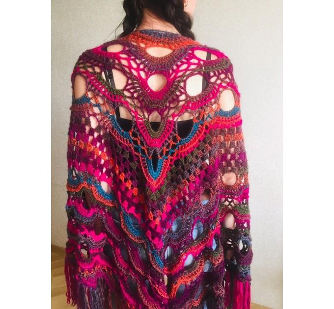 Crochet Multicolor Shawl Wrap Lace Triangle Boho Shawl Colorful Rainbow Shawl Fringe Big Crochet Shawl Hand Knitted Shawl Evening Shawl  Shawl / Wraps  2