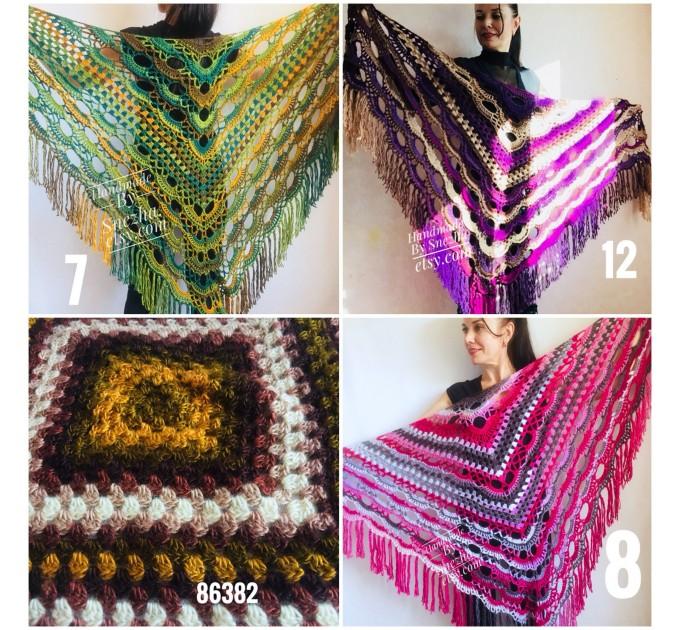 Crochet Multicolor Shawl Wrap Lace Triangle Boho Shawl Colorful Rainbow Shawl Fringe Big Crochet Shawl Hand Knitted Shawl Evening Shawl  Shawl / Wraps  4
