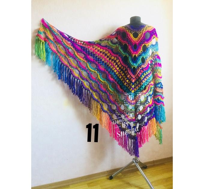 Crochet Multicolor Shawl Wrap Lace Triangle Boho Shawl Colorful Rainbow Shawl Fringe Big Crochet Shawl Hand Knitted Shawl Evening Shawl  Shawl / Wraps  6