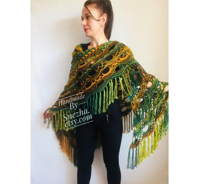 Crochet Multicolor Shawl Wrap Lace Triangle Boho Shawl Colorful Rainbow Shawl Fringe Big Crochet Shawl Hand Knitted Shawl Evening Shawl  Shawl / Wraps  7