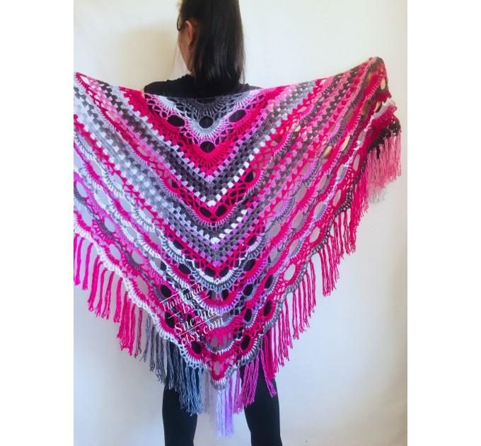 Crochet Multicolor Shawl Wrap Lace Triangle Boho Shawl Colorful Rainbow Shawl Fringe Big Crochet Shawl Hand Knitted Shawl Evening Shawl  Shawl / Wraps  9