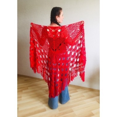 RED Crochet Shawl Triangle Fringe Wrap Hand Knit Wool Shawl Evening Crochet Wrap Mohair Lace Scarf Shawl Gifts For Wife Mom Festival Shawl