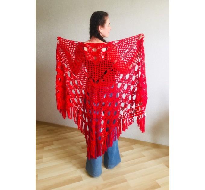 RED Crochet Shawl Triangle Fringe Wrap Hand Knit Wool Shawl Evening Crochet Wrap Mohair Lace Scarf Shawl Gifts For Wife Mom Festival Shawl  Shawl / Wraps