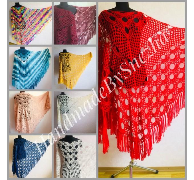 RED Crochet Shawl Triangle Fringe Wrap Hand Knit Wool Shawl Evening Crochet Wrap Mohair Lace Scarf Shawl Gifts For Wife Mom Festival Shawl  Shawl / Wraps  3