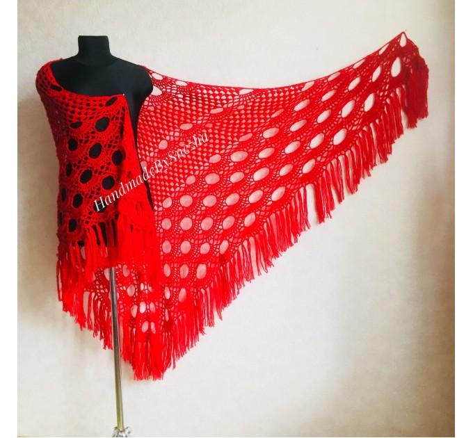 RED Crochet Shawl Triangle Fringe Wrap Hand Knit Wool Shawl Evening Crochet Wrap Mohair Lace Scarf Shawl Gifts For Wife Mom Festival Shawl  Shawl / Wraps  4