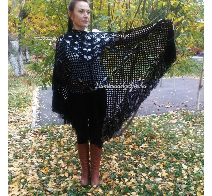RED Crochet Shawl Triangle Fringe Wrap Hand Knit Wool Shawl Evening Crochet Wrap Mohair Lace Scarf Shawl Gifts For Wife Mom Festival Shawl  Shawl / Wraps  5