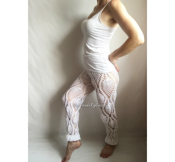 White Sexy Crochet Beach Pants Shorts Yoga Loose Festival Clothing Pants Hippie Women Lace Linen Pants Retro Beach Cover Up Black Pineapple