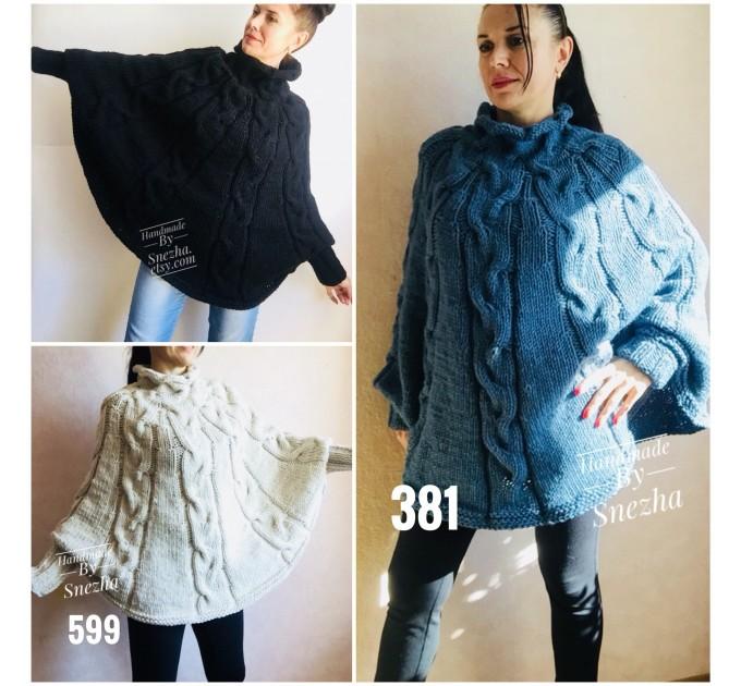 Hand Knit Poncho Wool Women Gray Poncho Sweater Winter Blue Poncho Plus Size Knitwear Boho Crochet Wrap Knit Cable Chunky Poncho White Black  Poncho  1