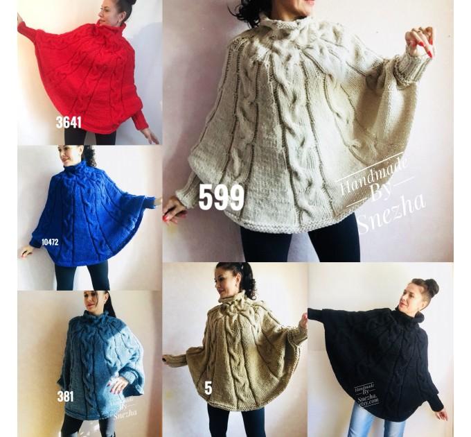 Hand Knit Poncho Wool Women Gray Poncho Sweater Winter Blue Poncho Plus Size Knitwear Boho Crochet Wrap Knit Cable Chunky Poncho White Black  Poncho  2
