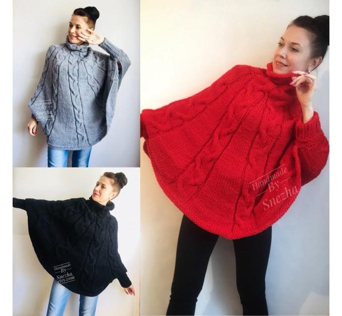 Hand Knit Poncho Wool Women Gray Poncho Sweater Winter Blue Poncho Plus Size Knitwear Boho Crochet Wrap Knit Cable Chunky Poncho White Black  Poncho  3