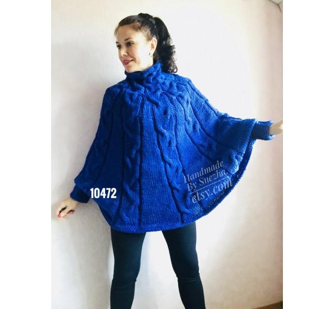 Hand Knit Poncho Wool Women Gray Poncho Sweater Winter Blue Poncho Plus Size Knitwear Boho Crochet Wrap Knit Cable Chunky Poncho White Black  Poncho  5