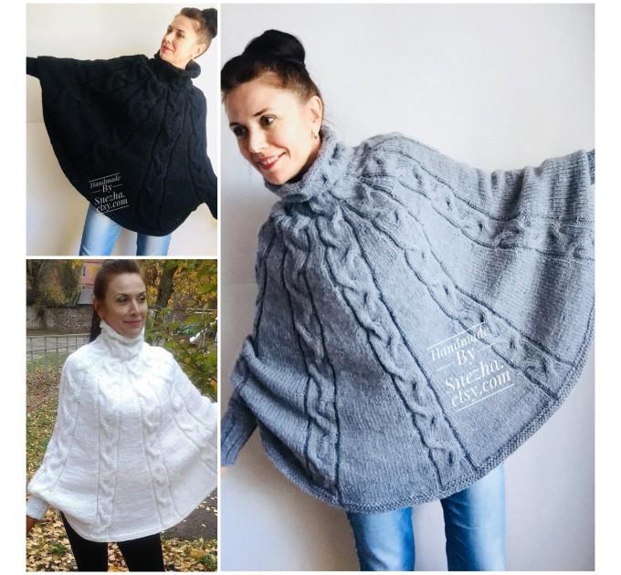 Hand Knit Poncho Wool Women Gray Poncho Sweater Winter Blue Poncho Plus Size Knitwear Boho Crochet Wrap Knit Cable Chunky Poncho White Black  Poncho  7