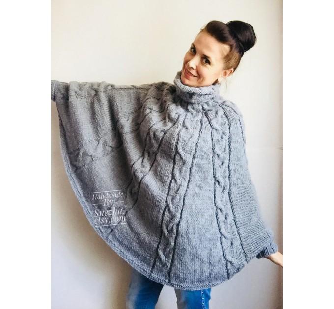 Hand Knit Poncho Wool Women Gray Poncho Sweater Winter Blue Poncho Plus Size Knitwear Boho Crochet Wrap Knit Cable Chunky Poncho White Black  Poncho  9