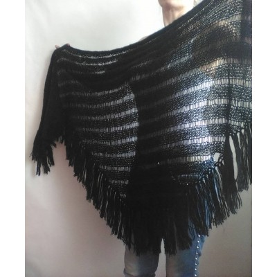 BLACK Crochet Shawl BOHO SHAWL Wraps Knit Wool Lace Mohair Shawl Gifts for Wife Fringe Shawl Bridal Wedding Black Mohair Triangle Scarf