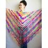 Crochet Shawl Fringe Mohair Rainbow Hand Knit Gay Pride Wedding Gift Wool Lace Triangle Shawl Wrap Bridal Bohemian Shawl Red White Black